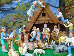 Setting Up the Nativity (raining rita) Tags: christmas animals japan hammer children joseph cow dolls sheep mary donkey camel nativity daddies papiermache fisherprice musicbox dollhouse pliers mommies wisemen playskool babyjesusangel