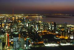 H O M E (Ghadeer Q) Tags: city longexposure nightphotography sunset sea reflection home night canon landscape lights downtown cityscape middleeast kuwait afterdark arabiangulf slowshutterspeed sharq liberationtower  canon1740   mirgab ghadeerq