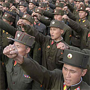 A rally held by the military forces of the Democratic People's Republic of Korea (DPRK) in the capital of Pyongyang. The socialist state tested short-range missiles on October 11, 2009. by Pan-African News Wire File Photos