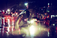 If love is shelter, I'm going to walk in the rain.... (ShanLuPhoto) Tags: street city nyc newyorkcity travel usa newyork cars rain night america downtown traffic manhattan 5thave loolooimage