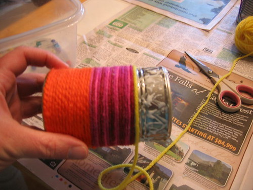 Putting the yarn on my can