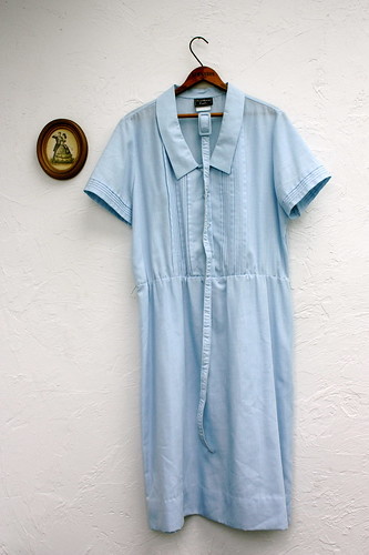 1960s Light Blue Peter Pan Collar Dress Size M-L