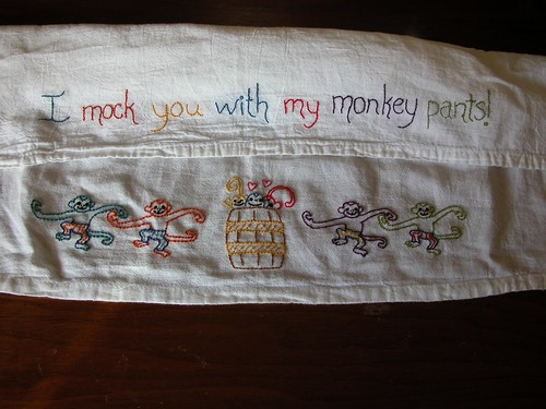 """Monkey Pants"" Tea Towel"