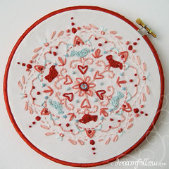 birds and bees (merwinglittle dear) Tags: show art love gallery day ray stitch embroidery craft sew kaleidoscope fabric aimee valentines hanahou