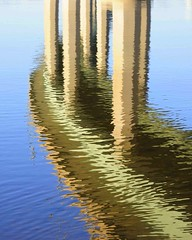 US Naval Academy Bridge on Severn River: A Reflection (IRainyDays) Tags: bridge blue reflection tan maryland annapolis severnriverbridge