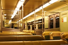 PATCO Train Car - Interior (Harpo42) Tags: travel green philadelphia car yellow train lights newjersey interior empty retro seats rails commuter inside philly passenger 1960s patco southjersey speedline camdencounty drpa
