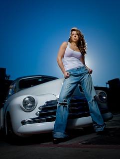 Briana with vintage car