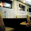 white on white on white. (jackie young.) Tags: china white vegetables car mystery train vintage gold vegan sauce wheat eat meal booths dining allergic