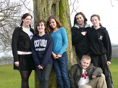 Students by a tree at Rushcliffe Comprehensive School