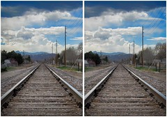 Train Tracks (CrossView 3D) (patrick.swinnea) Tags: blue sky metal train vanishingpoint 3d crosseye colorado cloudy tracks rails arvada crossview xview saturastion