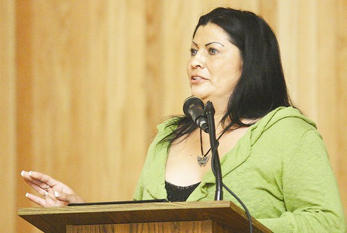 Sylvia Guerrero, mother of murdered transgendered person Gwen Araujo and resident of California, speaks about hate and transgender issues Thursday night in Heath Recital Hall. Guerrero was hosted by P.R.I.D.E. Kellen Jenkins /The Bulletin