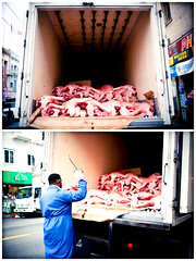 Chinese Spare Ribs (SHUN [iamtekn]) Tags: sanfrancisco street food man guy metal truck canon movie dead pig frozen diptych chinatown market cut quote meat pork butcher pack slice slaughter chop 5d canon5d hook dip brucelee brutal canoneos5d 35l canonef35mmf14lusm wayofthedragon tekn returnofthedragon
