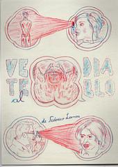 """""""Vete al Diablo"""" (FedericoLamas) Tags: argentina azul illustration pencil paper this is video al flyer rojo gallery buenos aires go galeria hell lapiz exhibition vision invitation diablo draw cabrera dibujo lamas muestra federico ilustracion infernal vete"""