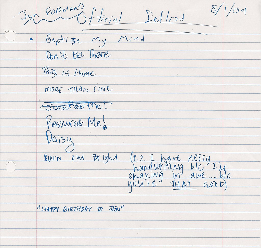 Jon Foreman's Fan Made Set List for August 1, 2009