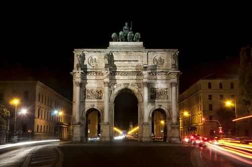 "Siegestor in Munich at Night What the Champs Elysees and the arc de triumph is for the people in Paris  is the Ludwigstrasse and the victory gate for the people in munich. (Pretty likely it was also copied from Paris). I worked there at this place during my study times and it was all the time nice for me to cross the street exactly at this point day and night ;-)  For the story & technique behind this shot, please visit my blog: <a href=""http://world.werner-kunz.com"" rel=""nofollow"">world.werner-kunz.com</a>  !!! creative commons: Feel free to use photos with credits and links. For commercial use, please contact me and we will find an agreement for the permission!!!"