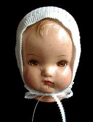 front 0-3 mos (sunshine's creations) Tags: baby white thread handmade crochet cap ribbon bonnet satib