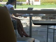 Asian woman studying (rreynzol548) Tags: summer woman feet girl computer asian student mac day chinese sunny barefoot oriental