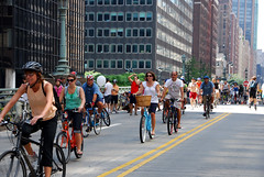 Janette Sadik-Khan bicycling during New York City's Summer Streets program, with no special entourage