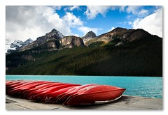 bE the canoe! (mcazadi) Tags: blue trees red canada mountains water clouds alberta nd banff lakelouise raining grads 100pm 3stop singhray bluwater be39