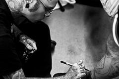 Tattoo Art Fest (071) - 18-20Sep09, Paris (France) (°]°) Tags: portrait blackandwhite bw 3 man art tattoo pencil ink glasses artist noiretblanc nb piercing convention krusty salon fest calf bodyart lunettes preparation homme encre tatouage préparation tattooist feutre tattooartist mollet tattooer tattooartfest tatoueur tattooartfest3