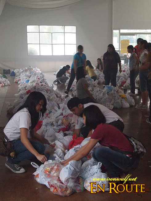 Organizing the Relief Goods at Megatent