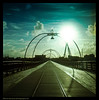 Southport Pier on Film (Lee Carus) Tags: england bird film birds silhouette liverpool pier track seagull mat boardwalk medium format 2009 southport merseyside yaschica