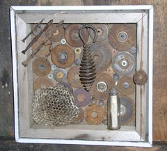 miscellaneousexamples (jemb333) Tags: art assemblage foundobject washers waspnest rustynails glassbottle woodenbox copperrods paperfrom1874arithmeticbook twistywiremetalthing