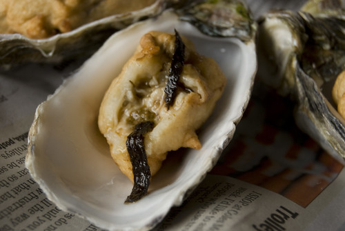 Close up of insides of Esposito Tempura Oysters 1