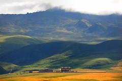 Jinlong Gonpa on the Lhagang Grassland, Tibet (reurinkjan) Tags: nature prayerflag chenresig drolma lungta chanadorje sacredmountains jambayang tibetanlandscape     janreurink ommanipemehung tibetanplateaubtogang kham buddhism tibet sacredmountainsoftibet dardocounty zharalhatse5820m19094ft lhaganggompa minyaglhagangyongdzograbgilhakangtongdrolsamdribling chortenmchodrten nyingmapasherda prayerflagsonstaff landscapeyulljongs naturerangbyung sunsetnyirgas 2010 lhaganglhasgang landscapesceneryrichuyulljongsrichuynjong peakofasolitarymountainridochadridoch jinlonggonpa jinlonggonpamonastery