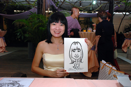 Caricature live sketching for Mark and Ivy's wedding solemization - 3