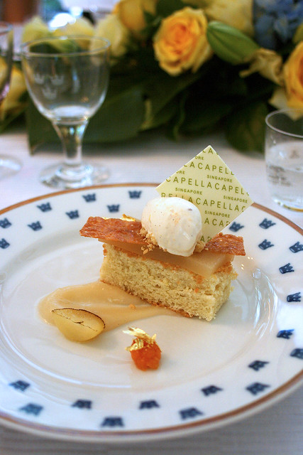 Textures of Almond and Pear with Cloudberries Ice Cream