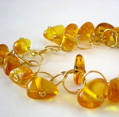 honey golden amber nuggets on a bracelet