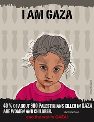 I am Gaza (freestylee) Tags: art illustration children poster israel warcrimes war child palestine refugees protest unitednations jews rockets bombs struggle gaza arabs palestinian occupation conflicts gazans feegaza