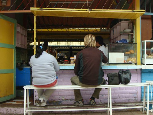 Brekkie at the local groceries market in Otavalo...