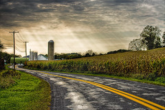 Windy Road Ahead... (darth_bayne) Tags: mill cornfield canon350d handheld sunrays hdr darkclouds sigma1020mm windyroad congratspresidentobama hopefromdarkensstolight
