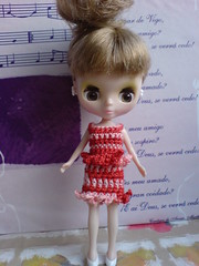 Red/Tile Tones Crochet Outfit for Petite Blythe