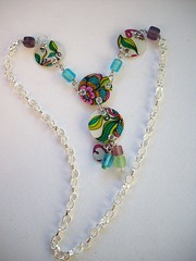 Psychedelic Danglings (4) (Jupita) Tags: colors beads jewelry starbucks recycledart bracelet wearableart recycle giftcard glassbeads repurpose upcycle starbuckscard trashion plasticcard upcycledgiftcard necklacemjupita