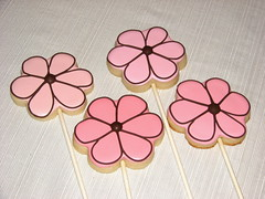 pink cookie pops (alana_hodgson) Tags: pink flowers brown sticks cookie pops sweettreats