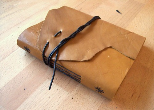 creamy brown leather journal