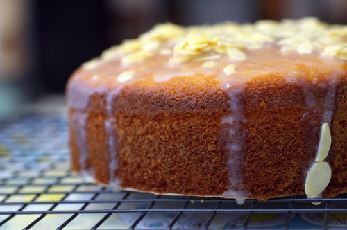 almond olive oil cake - glazed, cooling