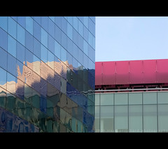 Pink and blue (markpritchard.) Tags: city uk pink blue windows light shadow reflection london tower college expedition glass architecture canon design photo office education cityscape contemporary shade imperial block markpritchard g9