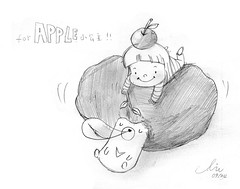 for apple (Duma Duma!!) Tags: bear silly cute apple illustration big head character afro awesome stupid lovely blackbear illust bighead   duma      moonbear