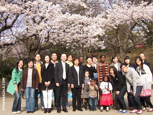 With members of the Tokyo Full Gospel Church - English Service at the Cherry Blossom Party.