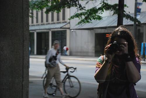 self portrait reflejo con ciclista