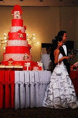 the cake and her gown. Awesome!