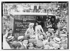 Suffragettes on way to Boston  (LOC) (The Library of Congress) Tags: street city newyork women crowd libraryofcongress caravan vote freeman equality croud suffrage suffragettes xmlns:dc=httppurlorgdcelements11 dc:identifier=httphdllocgovlocpnpggbain13711