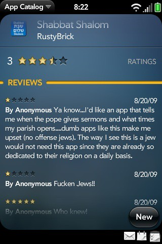 Anti-Semitism On Palm Pre App Reviews