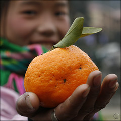 Sasa offer a Tangerine with soul (NaPix -- (Time out)) Tags: friends portrait food orange woman macro smile tangerine fruit hand bokeh vietnam explore sasa sapa hmong explored flickrsbest napix