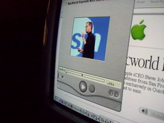 Macworld San Francisco 2000 - The Mac OS X Introduction (Louis Abate) Tags: stevejobs keynote 2000 streaming quicktime apple blueberry imacdv 400mhz firewire translucent macworld epson photopc iceo sanfrancisco address 56k dialup control strip wheresthedock 1024x768 imac