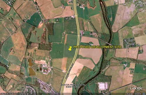 site of proposed development on farmland outside Frederick, MD (image By Google Earth, marking by me)